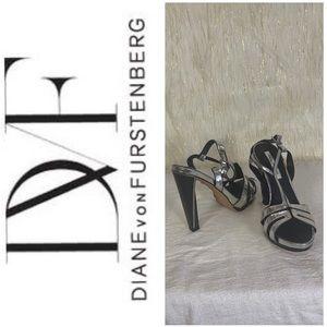 Diane Von Furstenberg Silver black Strappy heels